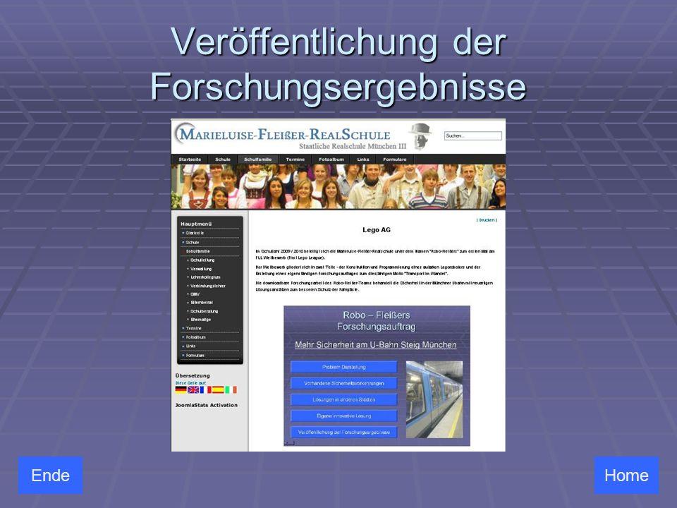 Veröffentlichung der Forschungsergebnisse HomeEnde