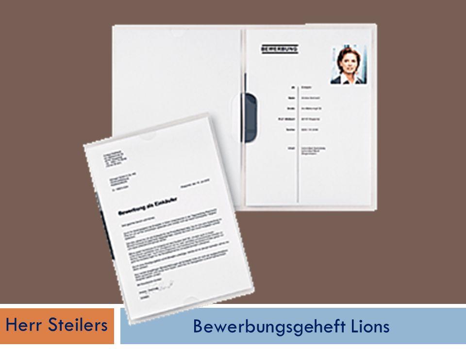 Bewerbungsgeheft Lions Herr Steilers