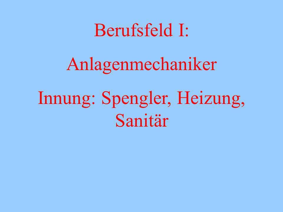 Berufsfeld I: Anlagenmechaniker Innung: Spengler, Heizung, Sanitär