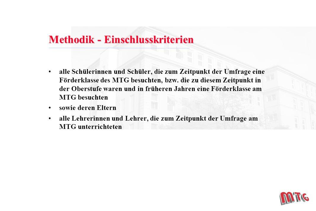Methodik - Einschlusskriterien alle Schülerinnen und Schüler, die zum Zeitpunkt der Umfrage eine Förderklasse des MTG besuchten, bzw.