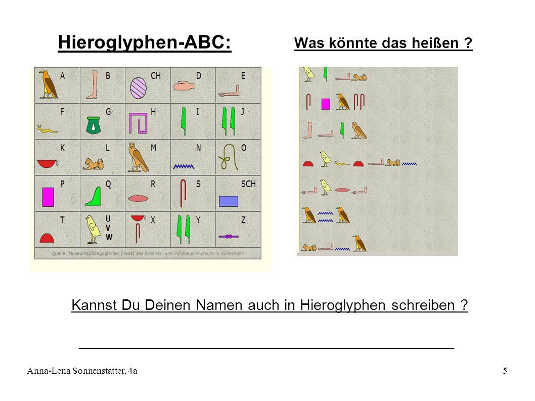 Anna-Lena Sonnenstatter, 4a5 Was könnte das heißen ? Hieroglyphen-ABC: Kannst Du Deinen Namen auch in Hieroglyphen schreiben ? _______________________