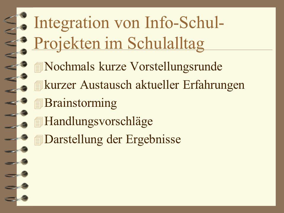 Integration von Info-Schul- Projekten im Schulalltag 4 Nochmals kurze Vorstellungsrunde 4 kurzer Austausch aktueller Erfahrungen 4 Brainstorming 4 Handlungsvorschläge 4 Darstellung der Ergebnisse