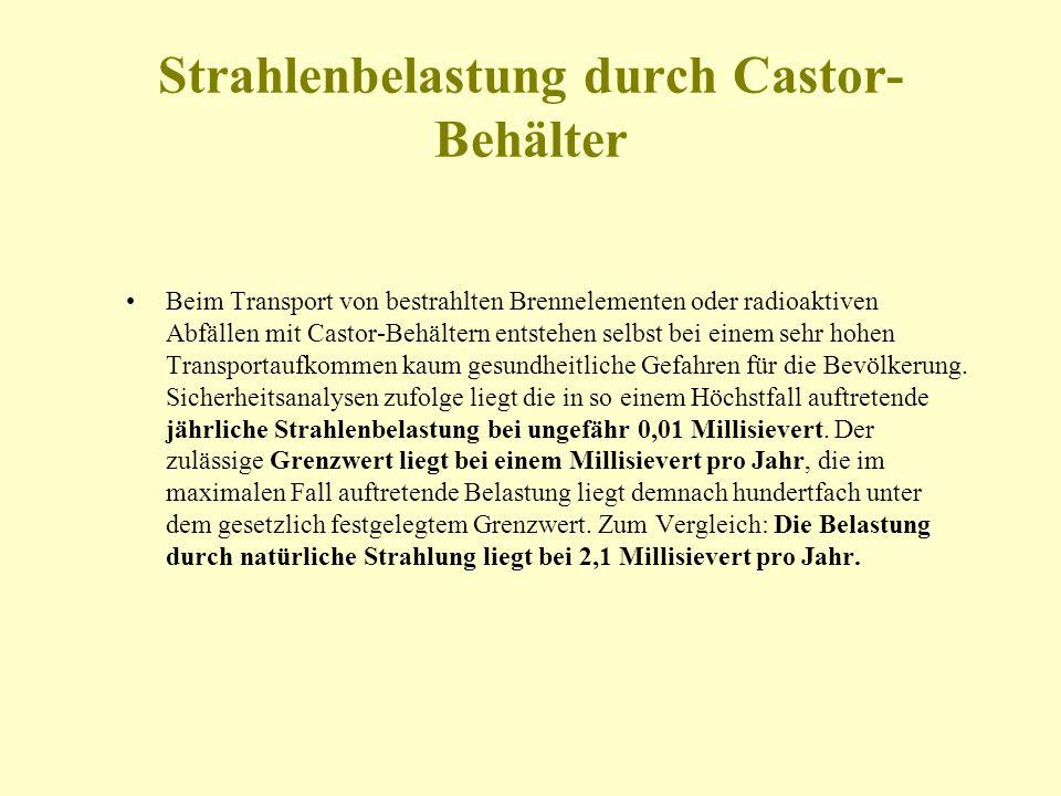 Strahlenbelastung durch Castor- Behälter Beim Transport von bestrahlten Brennelementen oder radioaktiven Abfällen mit Castor-Behältern entstehen selbs