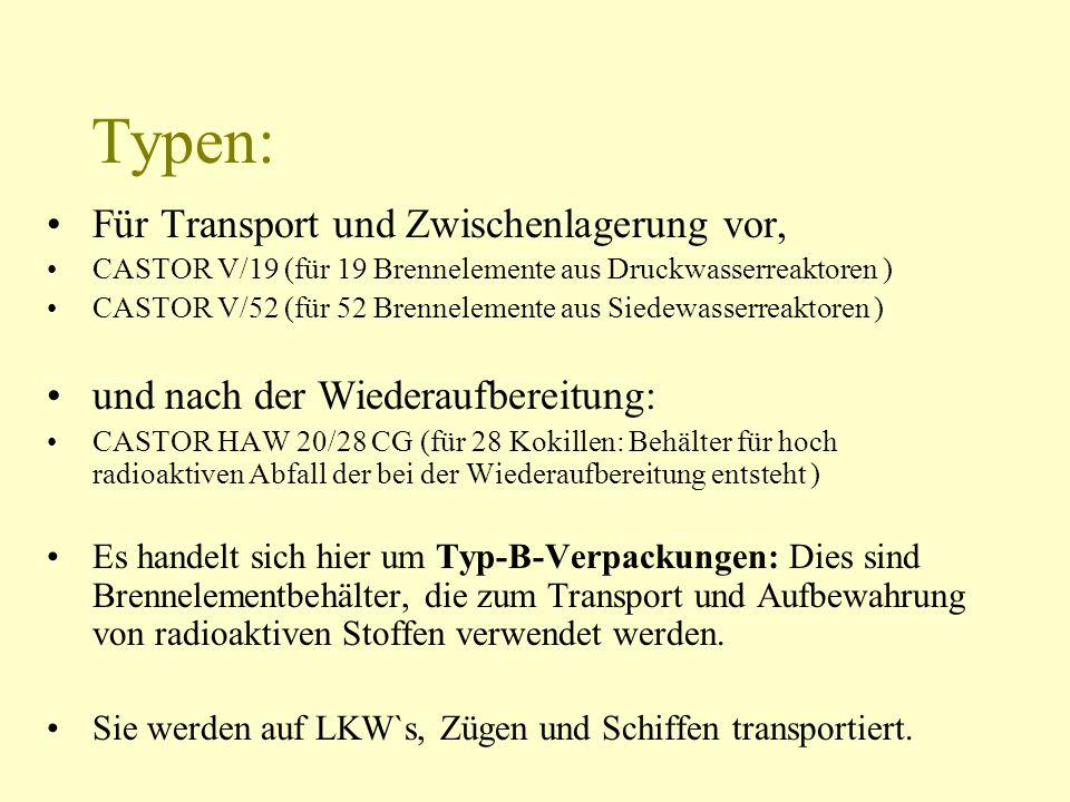 Typen: Für Transport und Zwischenlagerung vor, CASTOR V/19 (für 19 Brennelemente aus Druckwasserreaktoren ) CASTOR V/52 (für 52 Brennelemente aus Sied