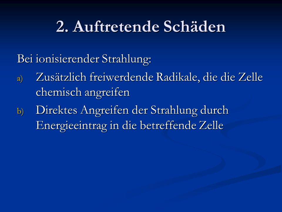 2. Auftretende Schäden Bei ionisierender Strahlung: a) Zusätzlich freiwerdende Radikale, die die Zelle chemisch angreifen b) Direktes Angreifen der St