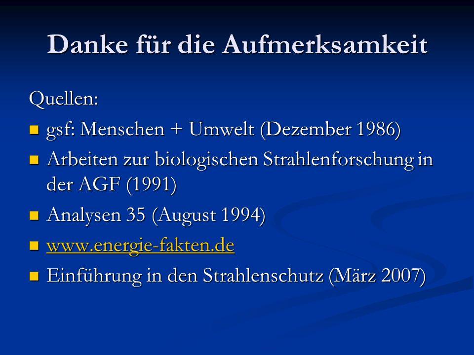 Danke für die Aufmerksamkeit Quellen: gsf: Menschen + Umwelt (Dezember 1986) gsf: Menschen + Umwelt (Dezember 1986) Arbeiten zur biologischen Strahlen