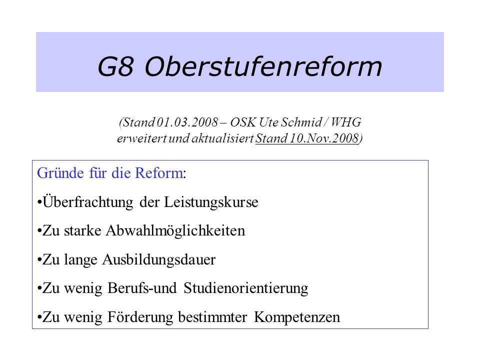 G8 Oberstufenreform (Stand 01.03.2008 – OSK Ute Schmid / WHG erweitert und aktualisiert Stand 10.Nov.2008) Gründe für die Reform: Überfrachtung der Le