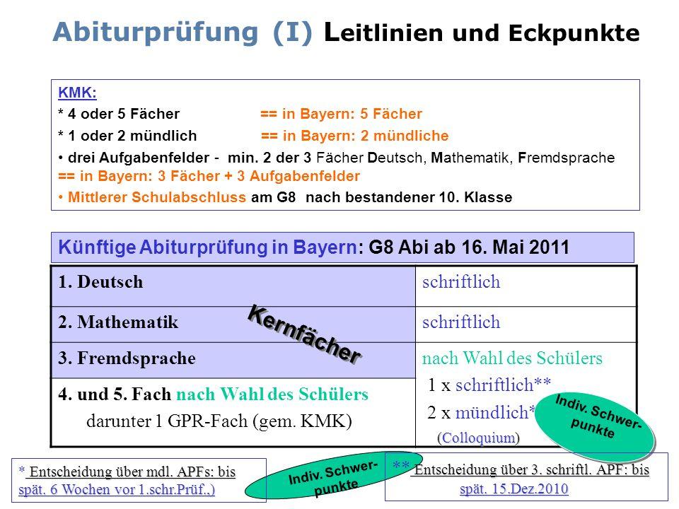 Abiturprüfung (I) L eitlinien und Eckpunkte KMK: * 4 oder 5 Fächer == in Bayern: 5 Fächer * 1 oder 2 mündlich == in Bayern: 2 mündliche drei Aufgabenf