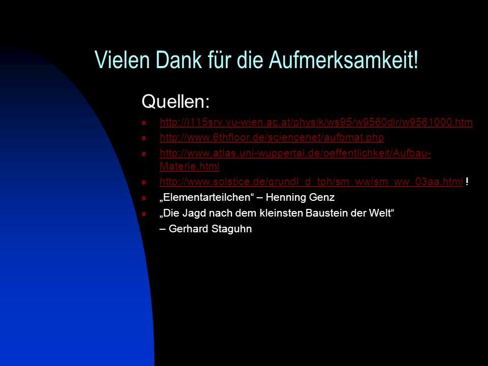 Vielen Dank für die Aufmerksamkeit! Quellen: http://i115srv.vu-wien.ac.at/physik/ws95/w9560dir/w9561000.htm http://www.6thfloor.de/sciencenet/aufbmat.