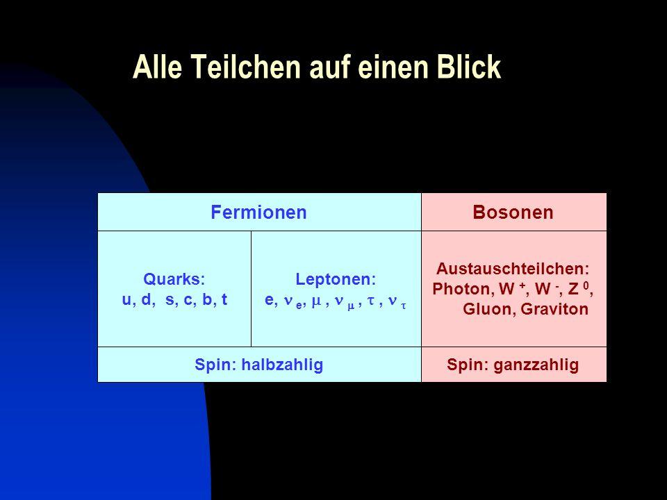 Alle Teilchen auf einen Blick Spin: ganzzahligSpin: halbzahlig Austauschteilchen: Photon, W +, W -, Z 0, Gluon, Graviton Leptonen: e, e,,,, Quarks: u,