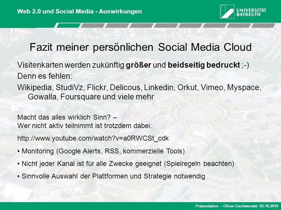 Präsentation – Oliver Gschwender 05.10.2010 Fazit meiner persönlichen Social Media Cloud Visitenkarten werden zukünftig größer und beidseitig bedruckt