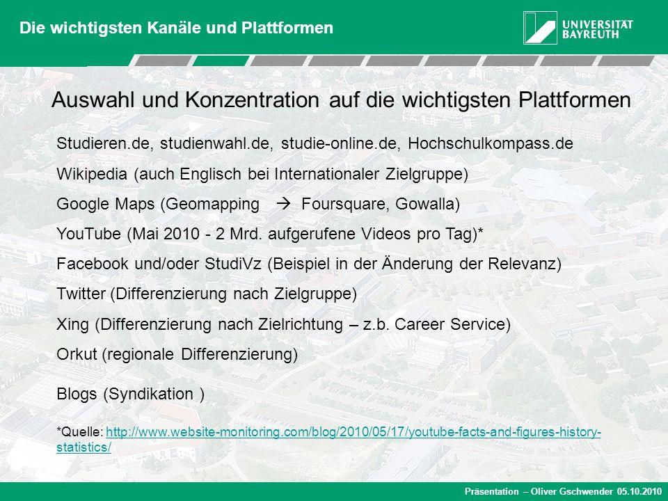 Präsentation – Oliver Gschwender 05.10.2010 Die wichtigsten Kanäle und Plattformen Studieren.de, studienwahl.de, studie-online.de, Hochschulkompass.de