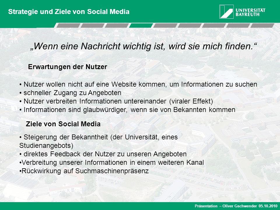 Präsentation – Oliver Gschwender 05.10.2010 Strategie und Ziele von Social Media Nutzer wollen nicht auf eine Website kommen, um Informationen zu such