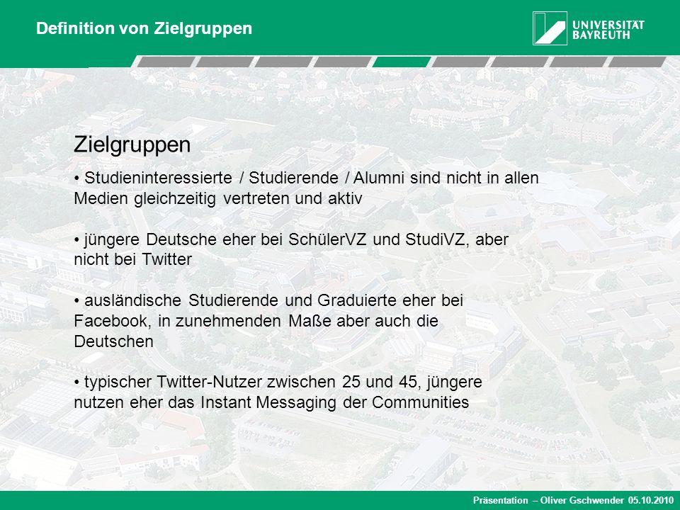Präsentation – Oliver Gschwender 05.10.2010 Zielgruppen Studieninteressierte / Studierende / Alumni sind nicht in allen Medien gleichzeitig vertreten