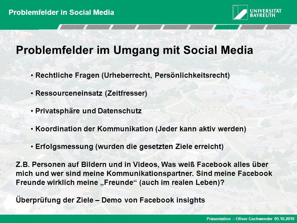 Präsentation – Oliver Gschwender 05.10.2010 Problemfelder in Social Media Problemfelder im Umgang mit Social Media Rechtliche Fragen (Urheberrecht, Pe