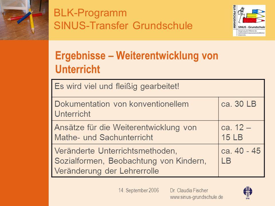 BLK-Programm SINUS-Transfer Grundschule Dr. Claudia Fischer www.sinus-grundschule.de 14. September 2006 Ergebnisse – Weiterentwicklung von Unterricht