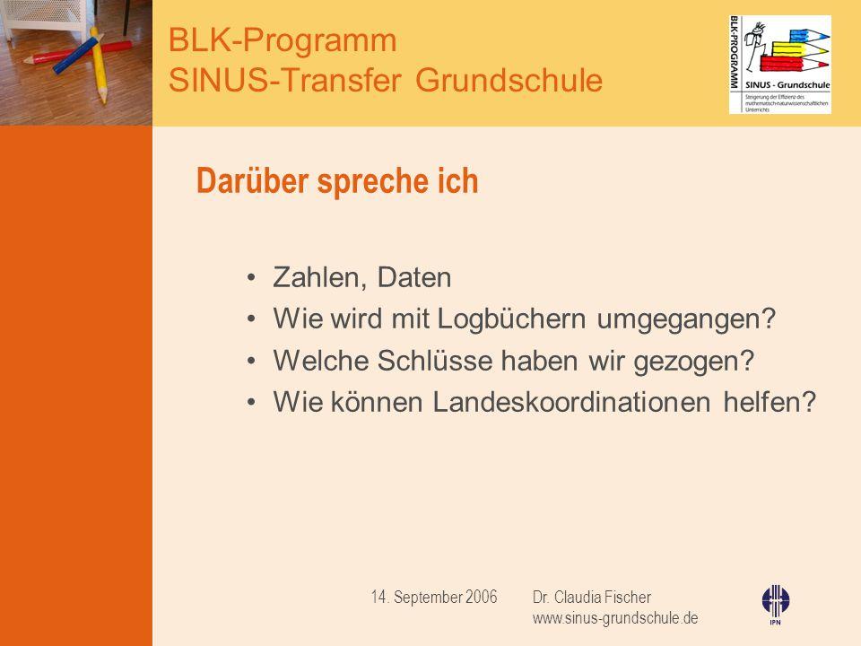 BLK-Programm SINUS-Transfer Grundschule Dr. Claudia Fischer www.sinus-grundschule.de 14. September 2006 Darüber spreche ich Zahlen, Daten Wie wird mit