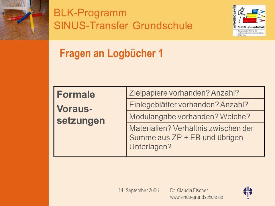 BLK-Programm SINUS-Transfer Grundschule Dr. Claudia Fischer www.sinus-grundschule.de 14. September 2006 Fragen an Logbücher 1 Formale Voraus- setzunge