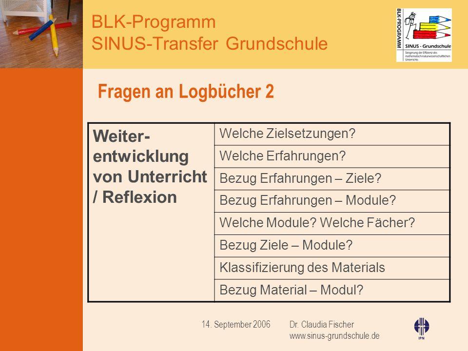 BLK-Programm SINUS-Transfer Grundschule Dr. Claudia Fischer www.sinus-grundschule.de 14. September 2006 Fragen an Logbücher 2 Weiter- entwicklung von