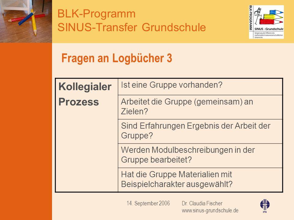 BLK-Programm SINUS-Transfer Grundschule Dr.Claudia Fischer www.sinus-grundschule.de 14.