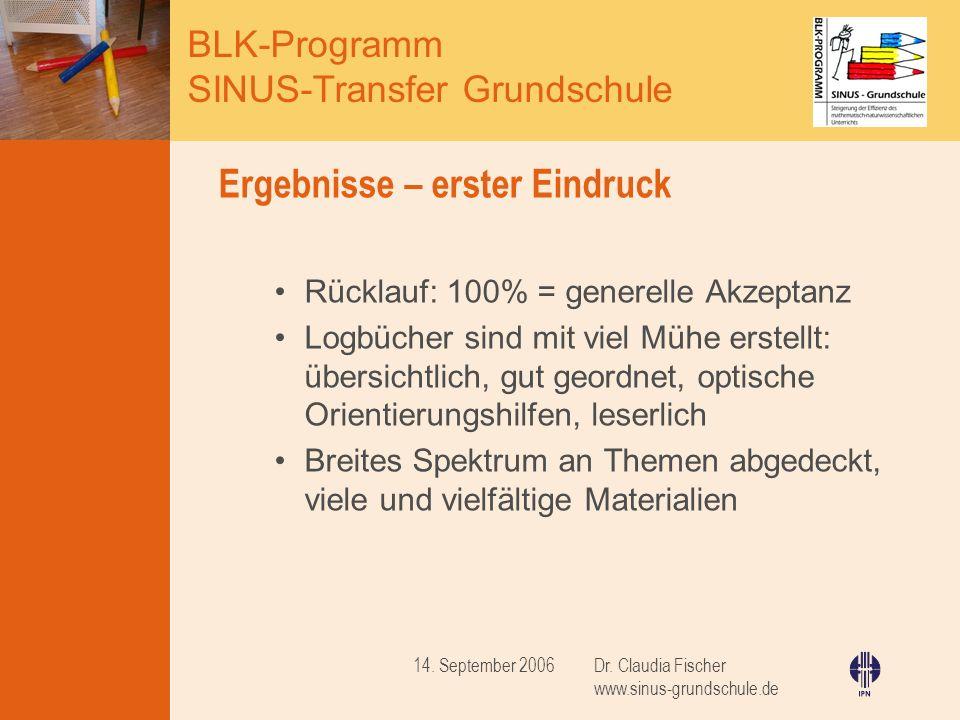 BLK-Programm SINUS-Transfer Grundschule Dr. Claudia Fischer www.sinus-grundschule.de 14. September 2006 Ergebnisse – erster Eindruck Rücklauf: 100% =