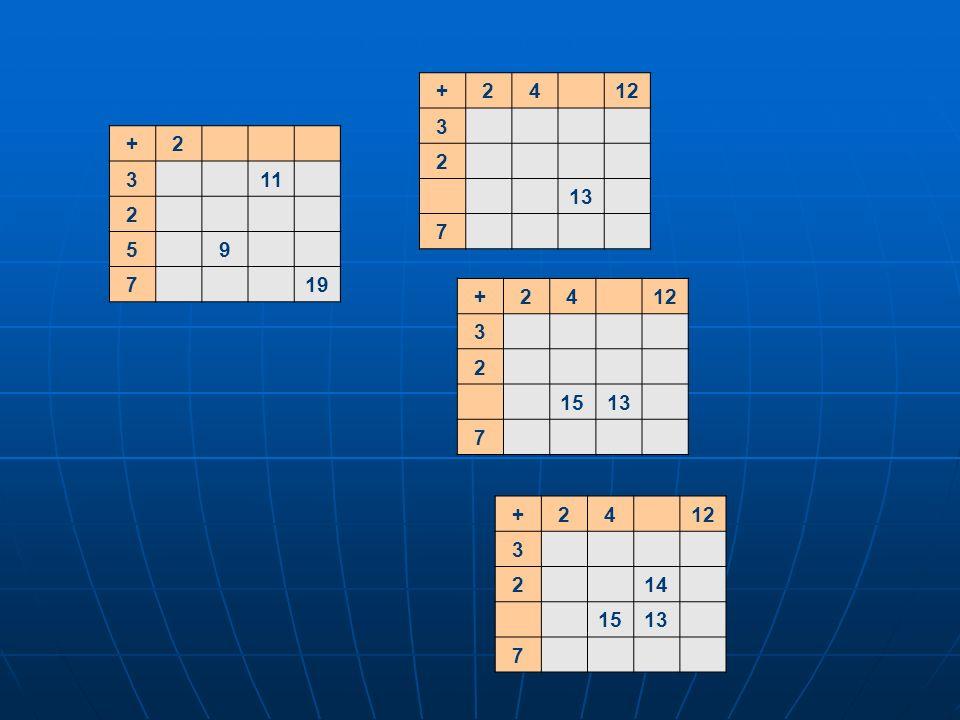 +2 311 2 59 719 +2412 3 2 13 7 +2412 3 2 1513 7 +2412 3 214 1513 7