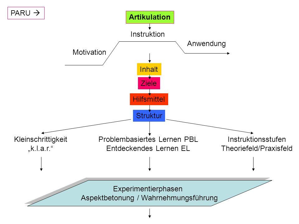 Experimentierphasen Präexperimentelle Phase: Untersuchungsfragen, Vorwissensaktivierung, vorläufige (hypothetische) Antworten, Vorgehensweise Experimentelle Phase: Zielorientiert, beobachtend, protokollierend Postexperimentelle Phase: Abstraktionen, Modellbildungen, Verallgemeinerungen Problementstehung, etwa durch Beobachtung; Kognitiver Konflikt mit Lösungsnutzen!