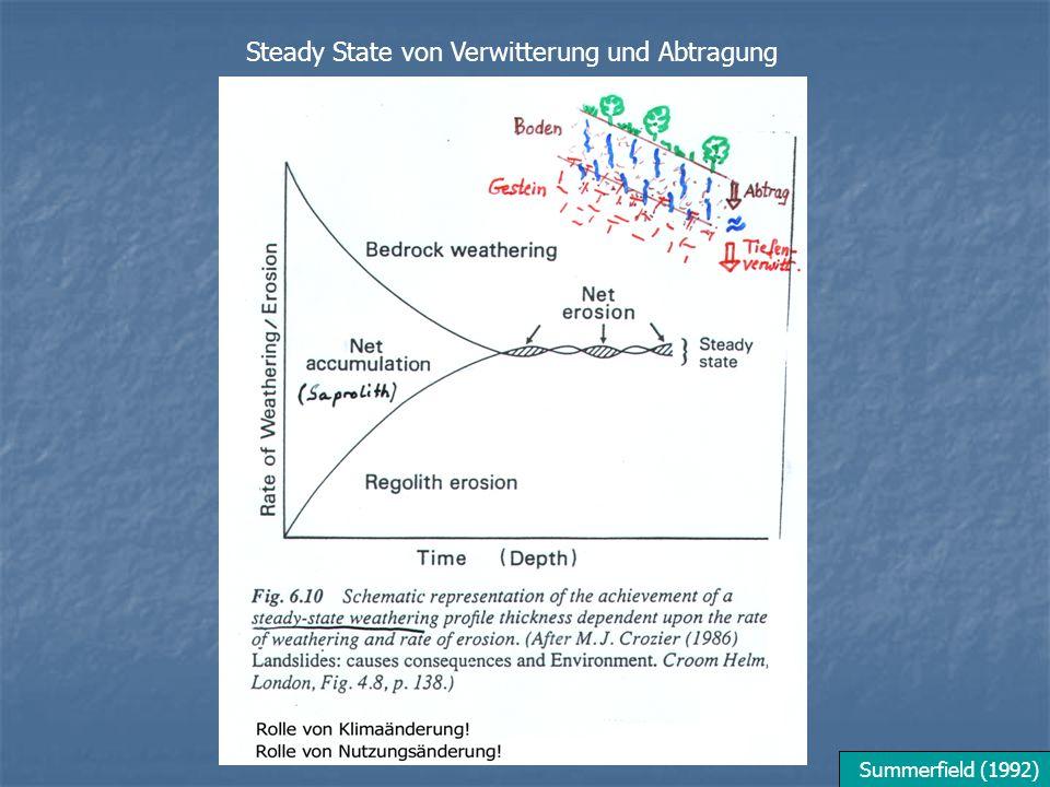 Summerfield (1992) Steady State von Verwitterung und Abtragung
