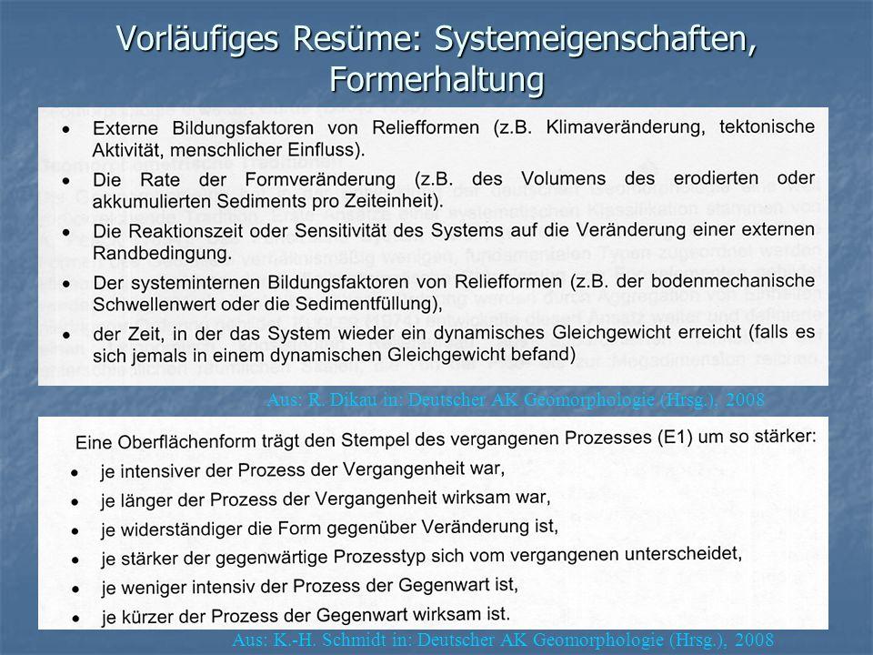 Vorläufiges Resüme: Systemeigenschaften, Formerhaltung Aus: R. Dikau in: Deutscher AK Geomorphologie (Hrsg.), 2008 Aus: K.-H. Schmidt in: Deutscher AK