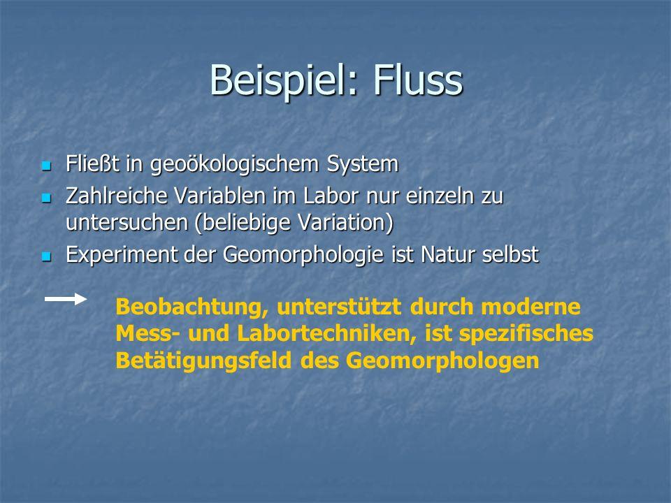 Beispiel: Fluss Fließt in geoökologischem System Fließt in geoökologischem System Zahlreiche Variablen im Labor nur einzeln zu untersuchen (beliebige