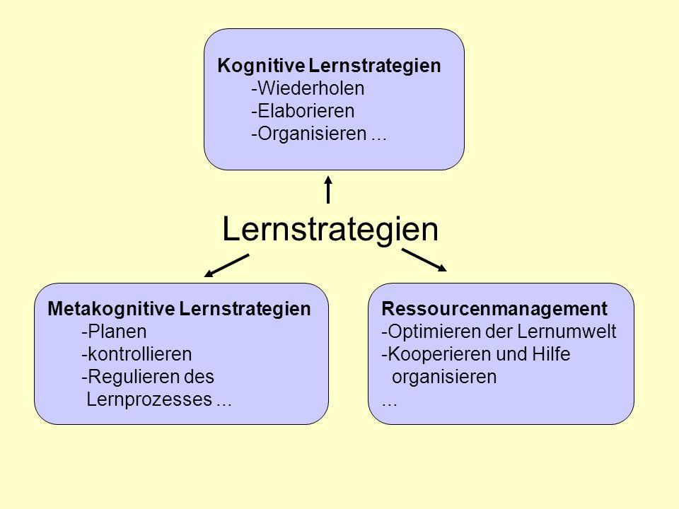 Lernstrategien Kognitive Lernstrategien -Wiederholen -Elaborieren -Organisieren...