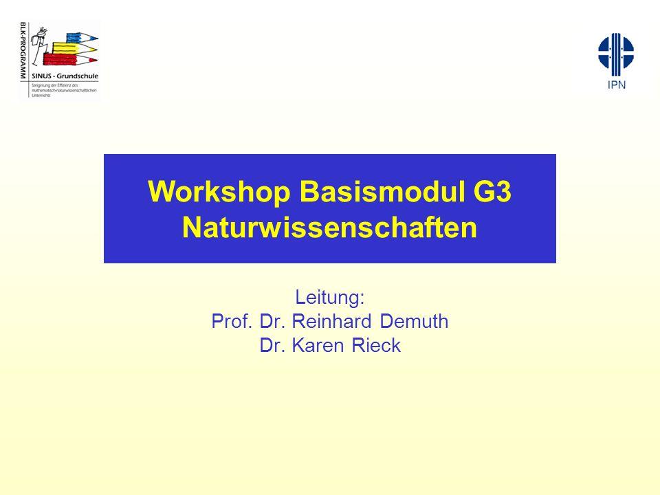 Workshop Basismodul G3 Naturwissenschaften Leitung: Prof. Dr. Reinhard Demuth Dr. Karen Rieck