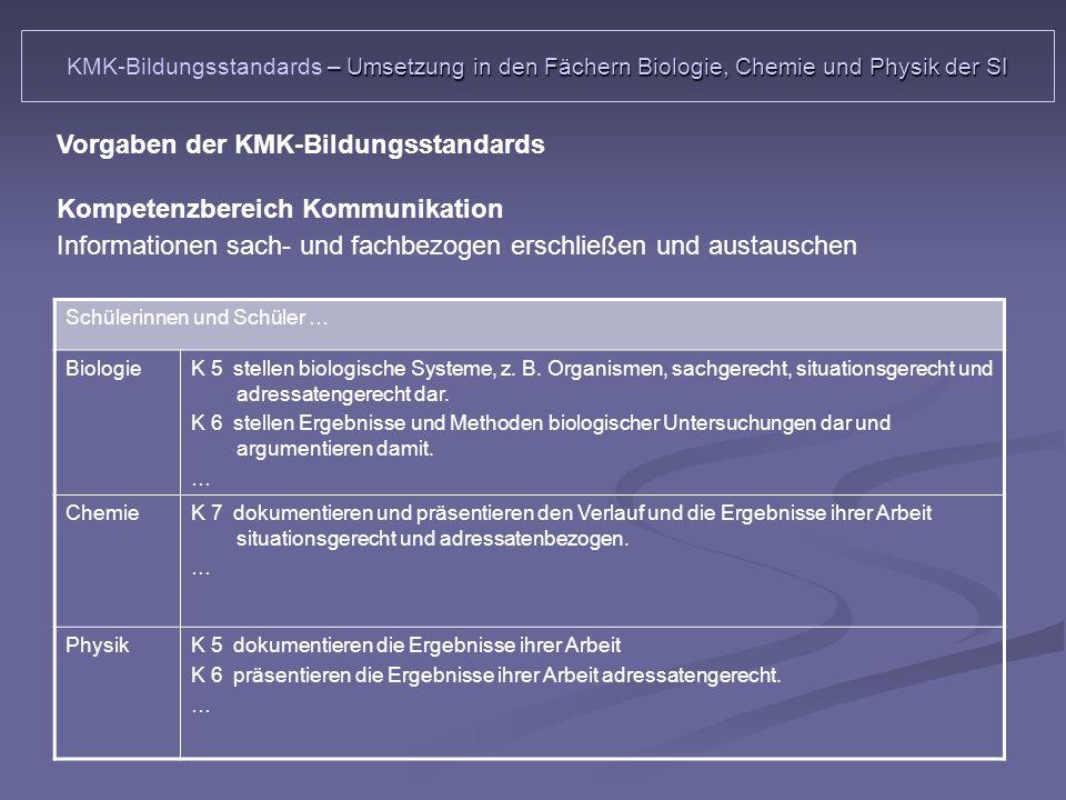 Schülerinnen und Schüler … BiologieK 5 stellen biologische Systeme, z.
