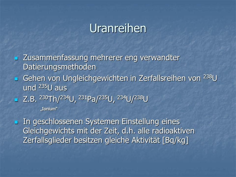 Uranreihen Zusammenfassung mehrerer eng verwandter Datierungsmethoden Zusammenfassung mehrerer eng verwandter Datierungsmethoden Gehen von Ungleichgew