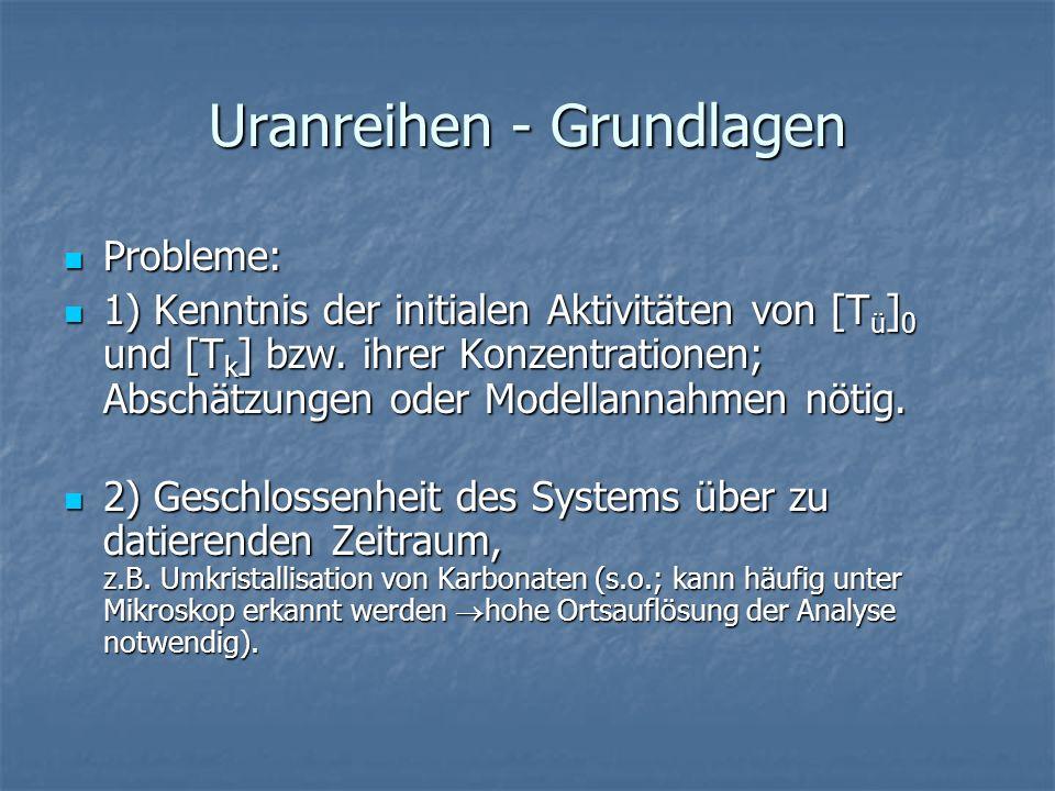 Uranreihen - Grundlagen Probleme: Probleme: 1) Kenntnis der initialen Aktivitäten von [T ü ] 0 und [T k ] bzw. ihrer Konzentrationen; Abschätzungen od