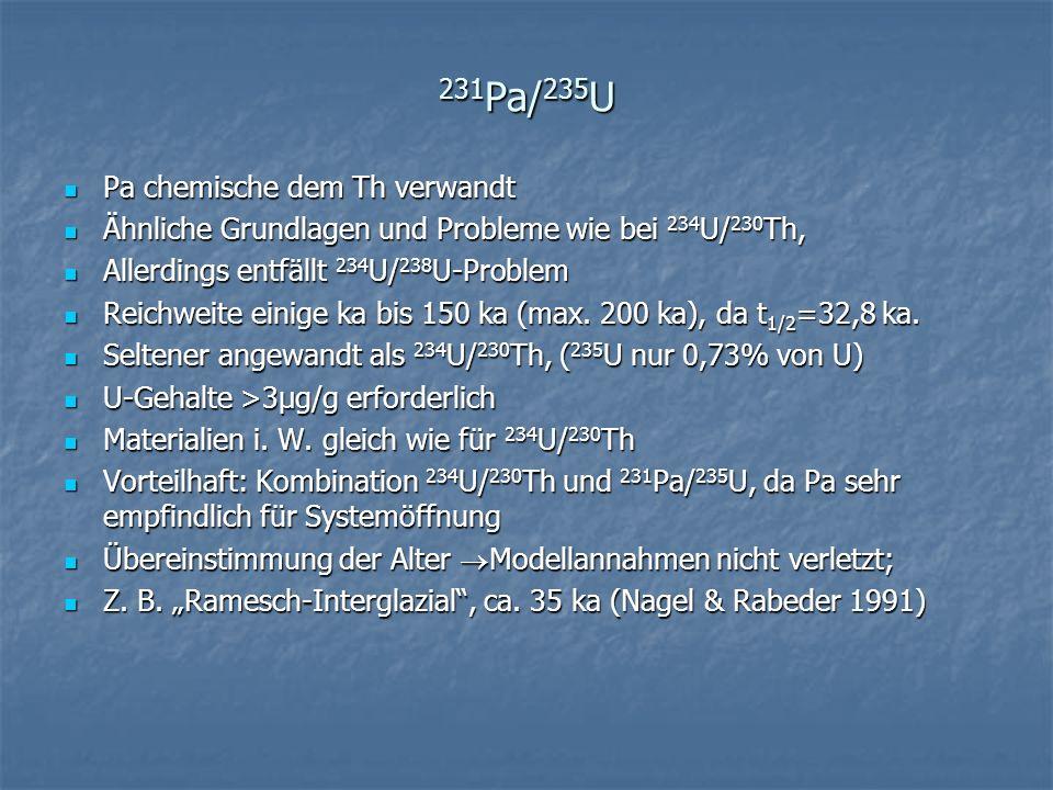 231 Pa/ 235 U Pa chemische dem Th verwandt Pa chemische dem Th verwandt Ähnliche Grundlagen und Probleme wie bei 234 U/ 230 Th, Ähnliche Grundlagen un