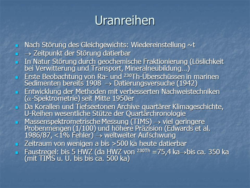 Uranreihen Nach Störung des Gleichgewichts: Wiedereinstellung ~t Zeitpunkt der Störung datierbar In Natur Störung durch geochemische Fraktionierung (L