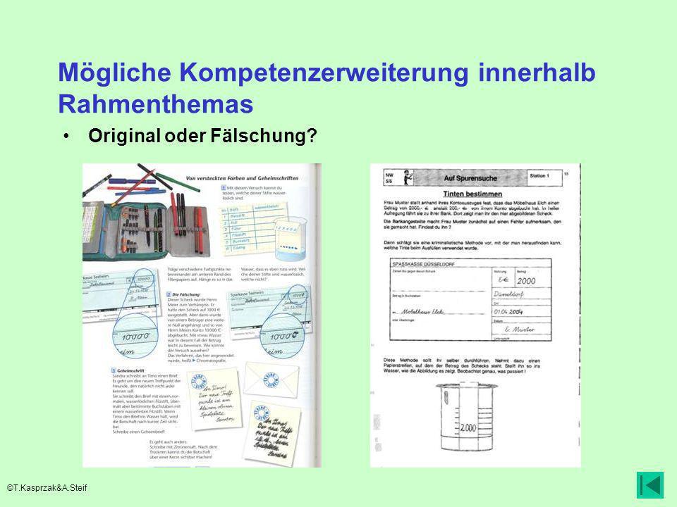 Mögliche Kompetenzerweiterung innerhalb Rahmenthemas Original oder Fälschung? ©T.Kasprzak&A.Steif