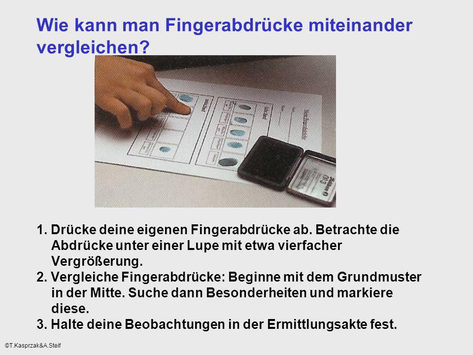 Wie kann man Fingerabdrücke miteinander vergleichen? 1. Drücke deine eigenen Fingerabdrücke ab. Betrachte die Abdrücke unter einer Lupe mit etwa vierf