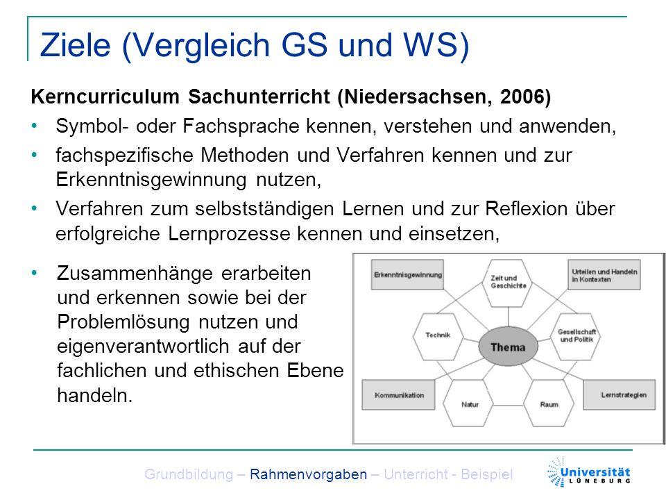 Ziele (Vergleich GS und WS) Kerncurriculum Sachunterricht (Niedersachsen, 2006) Symbol- oder Fachsprache kennen, verstehen und anwenden, fachspezifisc