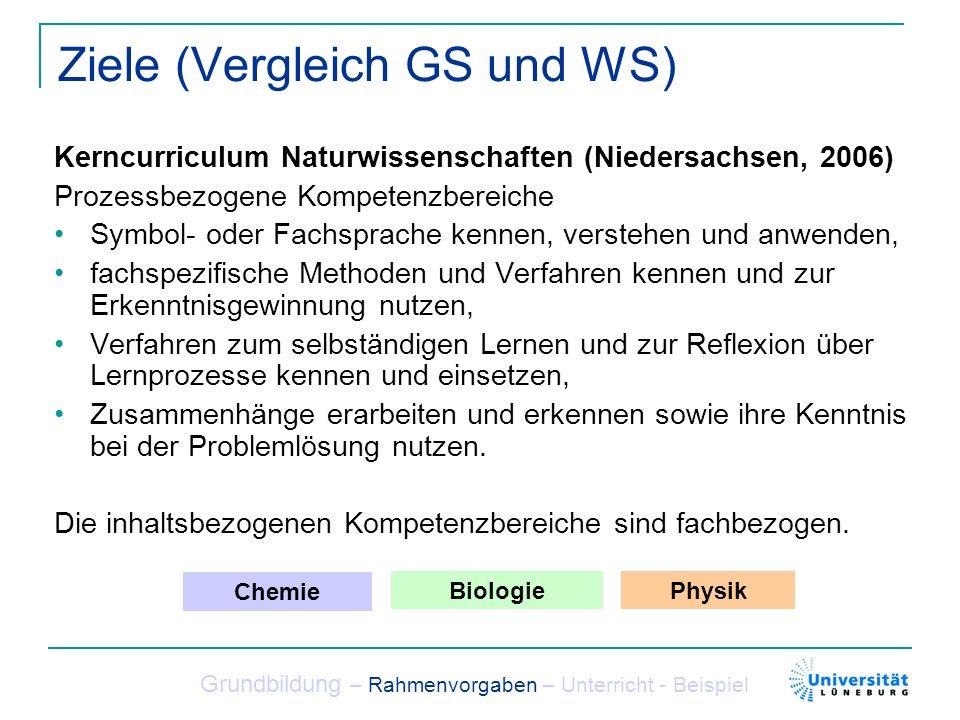Ziele (Vergleich GS und WS) Kerncurriculum Naturwissenschaften (Niedersachsen, 2006) Prozessbezogene Kompetenzbereiche Symbol- oder Fachsprache kennen