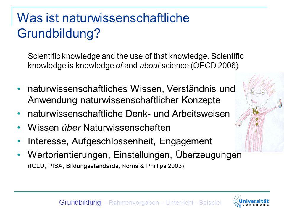 Was ist naturwissenschaftliche Grundbildung? Scientific knowledge and the use of that knowledge. Scientific knowledge is knowledge of and about scienc