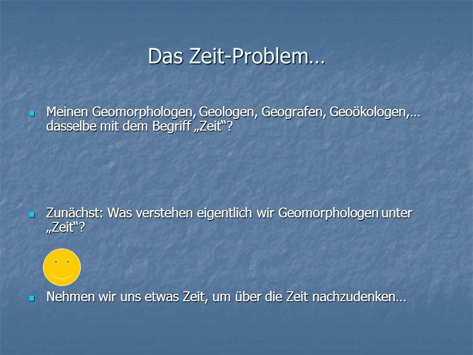 Das Zeit-Problem… Meinen Geomorphologen, Geologen, Geografen, Geoökologen,… dasselbe mit dem Begriff Zeit? Meinen Geomorphologen, Geologen, Geografen,
