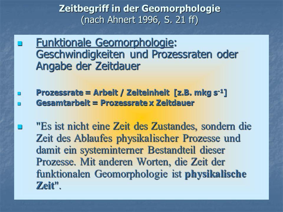 Zeitbegriff in der Geomorphologie (nach Ahnert 1996, S. 21 ff) Funktionale Geomorphologie: Geschwindigkeiten und Prozessraten oder Angabe der Zeitdaue
