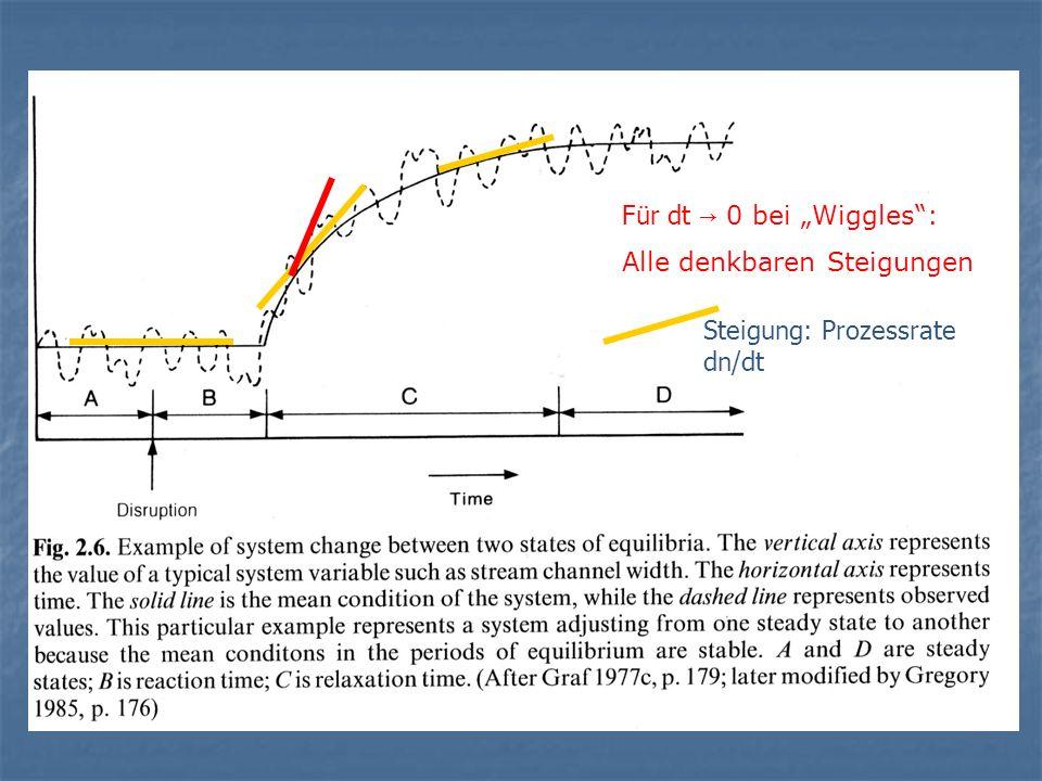 Steigung: Prozessrate dn/dt Für dt 0 bei Wiggles: Alle denkbaren Steigungen