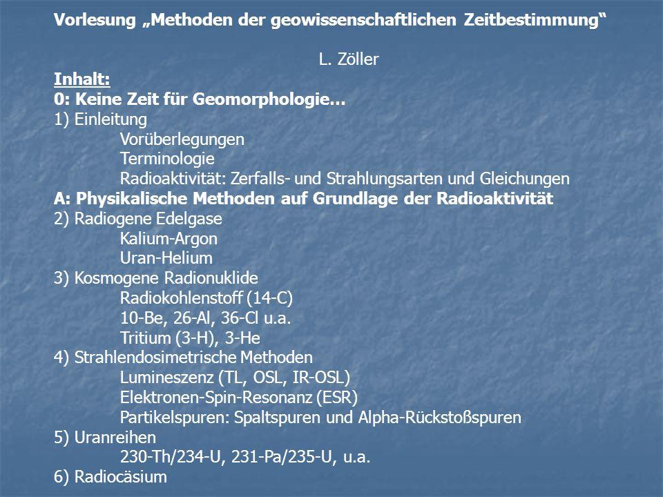 Vorlesung Methoden der geowissenschaftlichen Zeitbestimmung L. Zöller Inhalt: 0: Keine Zeit für Geomorphologie… 1) Einleitung Vorüberlegungen Terminol