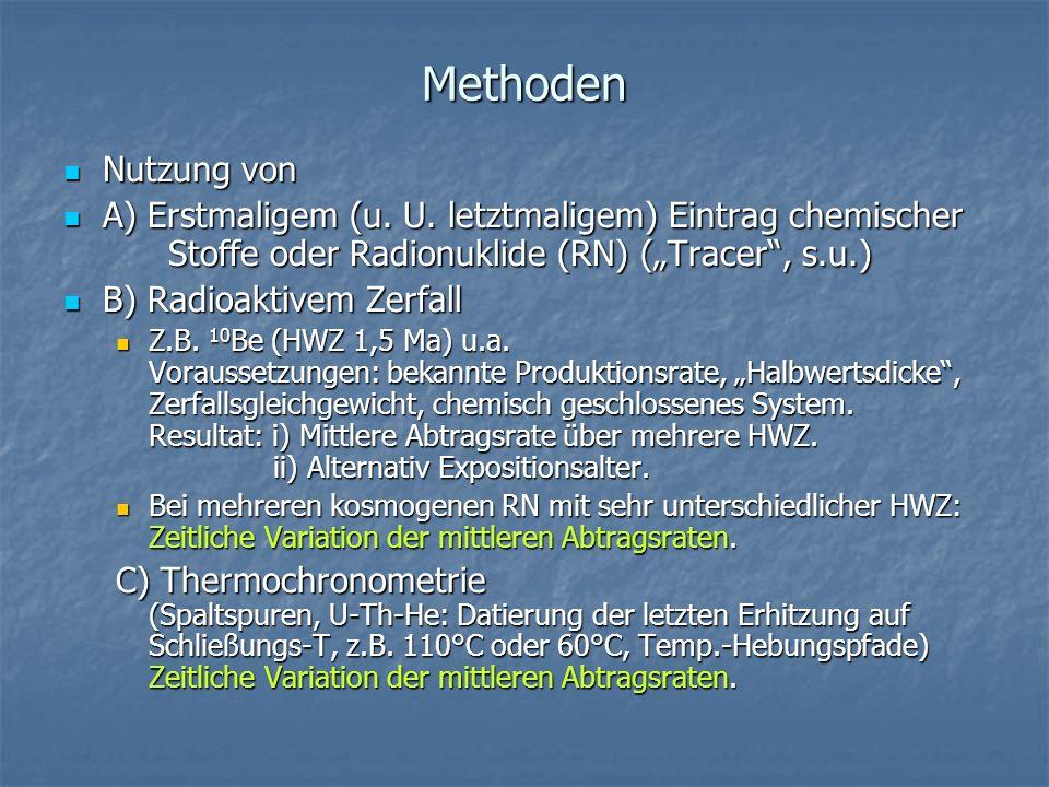 Methoden Nutzung von Nutzung von A) Erstmaligem (u. U. letztmaligem) Eintrag chemischer Stoffe oder Radionuklide (RN) (Tracer, s.u.) A) Erstmaligem (u
