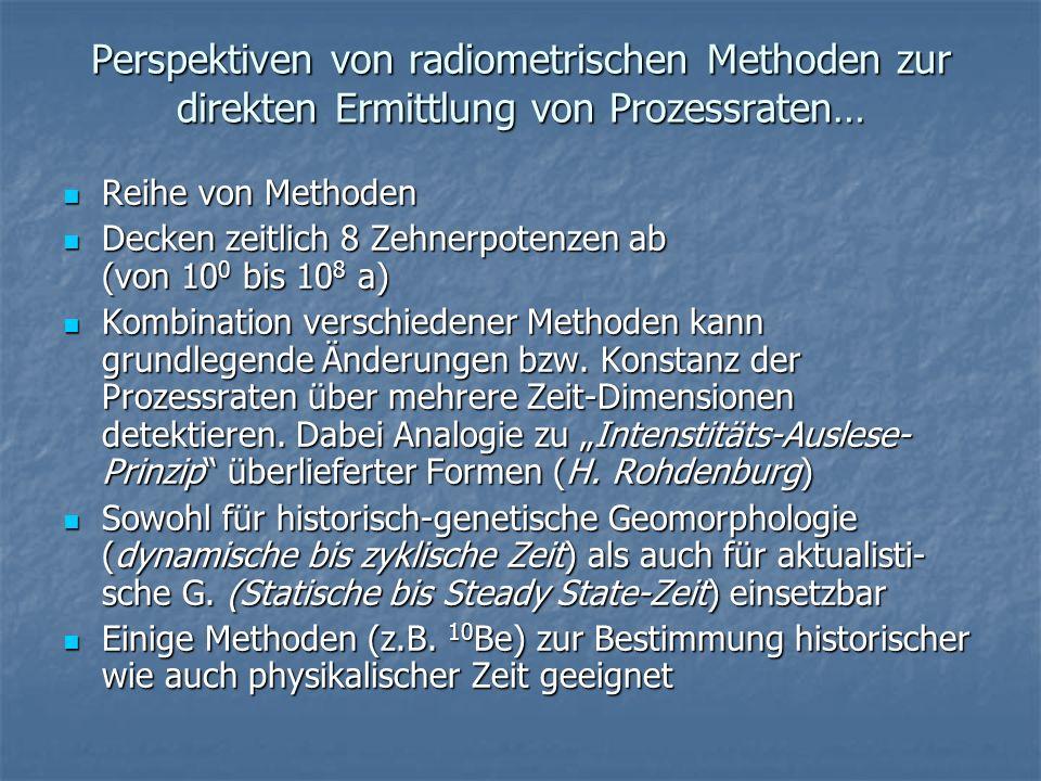 Perspektiven von radiometrischen Methoden zur direkten Ermittlung von Prozessraten… Reihe von Methoden Reihe von Methoden Decken zeitlich 8 Zehnerpote