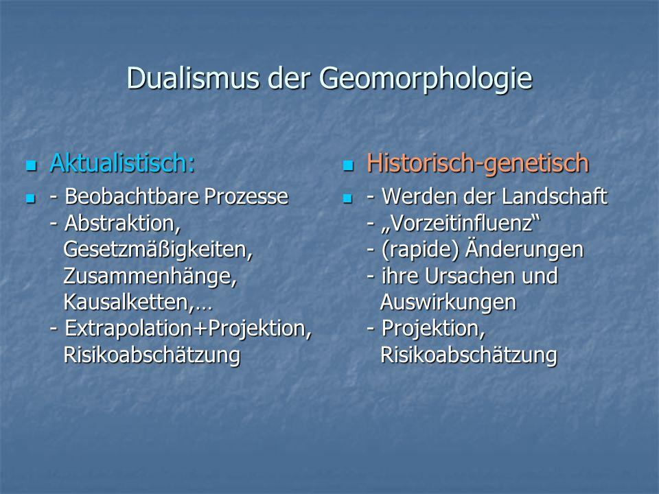 Dualismus der Geomorphologie Aktualistisch: Aktualistisch: - Beobachtbare Prozesse - Abstraktion, Gesetzmäßigkeiten, Zusammenhänge, Kausalketten,… - E