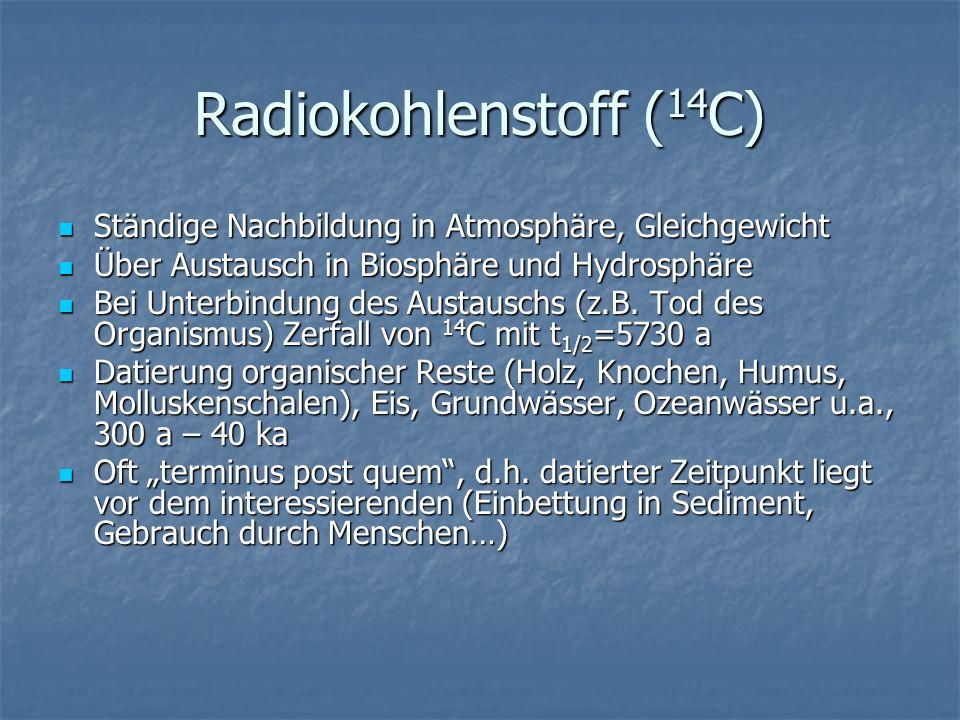Radiokohlenstoff ( 14 C) Ständige Nachbildung in Atmosphäre, Gleichgewicht Ständige Nachbildung in Atmosphäre, Gleichgewicht Über Austausch in Biosphä